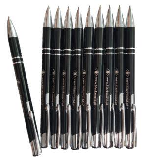 Czarno-srebrny długopis z logo Black World