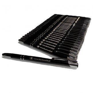 Długopisy z logo Black World opatrzone gumkami do obsługi smartfona