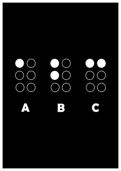 Grafika przedstawiająca pismo Brajla