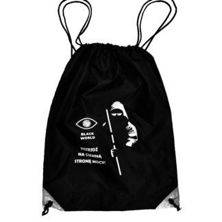 """Plecak typu worek z logo Black World i grafiką zakapturzonego mężczyzny z laską oraz okularami opatrzona napisem: """"Przejdź na ciemną stronę mocy""""."""